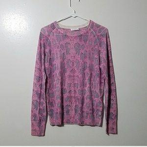 Equipment pink & purple leopard sweater